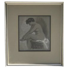 Adolf Ferdinand Konrad (1915- 2003) American listed artist watercolor painting of a seated semi nude woman 1953