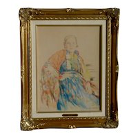 Vasiliy Panfilovich KURMANAEVSKI (1894-1960) pastel drawing of Russian lady