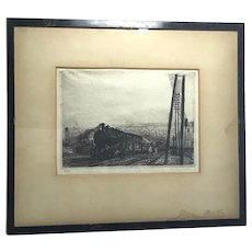 Charles Heyman (1881-1915) French listed artist pencil signed etching of a train station circa 1910