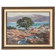 "California art impressionist plein air landscape painting Monterey ""Cypress Point"" Lone Cypress artist Alice Walker"