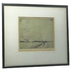 "J. Reginald Taylor British artist etching ""An Indian Road, Evening"" signed in pencil"