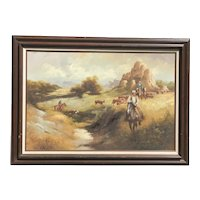 G. Delano  American  artist Western oil painting with horses and cowboys in the mountain landscape 24 X 36