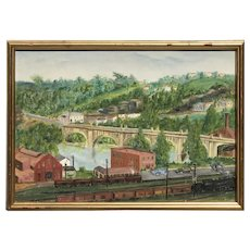 American landscape painting Deco period concrete bridge artist Ethele Edwards circa 1940