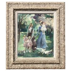 Jeannette Deseglise French impressionist painting of a young beautiful ladies and children at the park circa 1951