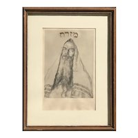 Artist Ziegler Jewish Judaica art Portrait of a Rabbi with Prayer Shawl signed lithograph 1930