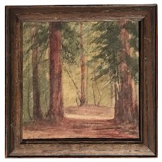 Anna Dearborn  (1854 - 1932)  Early California small watercolor painting of redwood threes