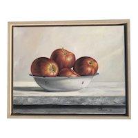 Nela Radomirovic contemporary Serbian artist still life oil painting of apples