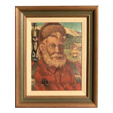"Alaskan wildness art portrait of ""Sourdough"" man in a snowy  mountain landscape with Totem Pole folk art painting"