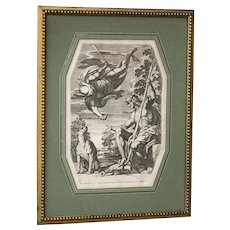 """Carlo CESIO (1626-1686) Italian artist etching """"Mercury brings Paris the golden apple"""""""
