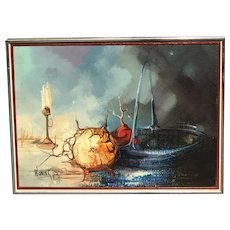 Still life painting of fruits basket and candle on the table top by surrealist artist A. Wonink 1973
