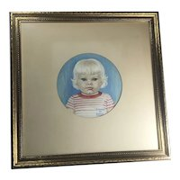 Queen Holden Signed original  gouache painting of blonde hair blue eyes child