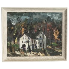 Oskar Skuskis  Latvian - American listed artist expressionist impressionist landscape painting of white house in autumn landscape