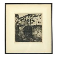 Ernest David Roth  (1879 - 1964) American artist Ponte Vecchio Covered Bridge Florence Italy 1906 Pencil signed etching