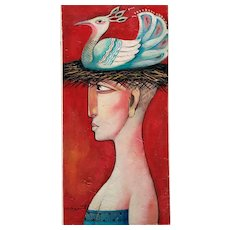 Colorful modernist contemporary Italian painting of a woman with bird nest hat
