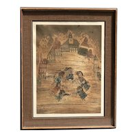 Graciela Rodo Boulanger listed artist happy dancing children in a city square aquatint etching pencil signed