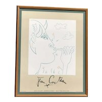 """Jean Cocteau (1889 -1963) framed original lithograph """"FAUN"""" exhibition poster  Jack Gallery New York"""