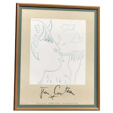 "Jean Cocteau (1889 -1963) framed original lithograph ""FAUN"" exhibition poster  Jack Gallery New York"