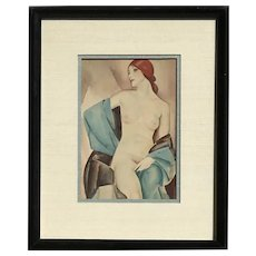 Original watercolor painting of stylized seated nude woman in Art Deco style