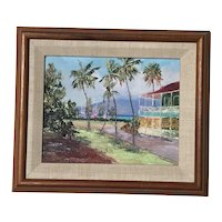 Betty Hay Freeland American Hawaii artist painting of Pioneer Inn Hotel Lahaina