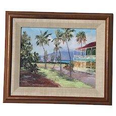 Betty Hay Freeland American Hawaii artist painting of Pioneer Inn Hotel Lahaina