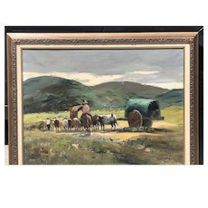 Durval Pereira (1917-1984) Brazillian listed artist country side landscape with horse rider wagon sheep painting