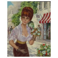 French 1950's painting of young beautiful lady woman in Paris  street scene signed GENEVIVE