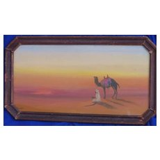 Orientalist art original vintage pastel drawing of camel in the desert