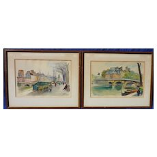 Pair of watercolor paintings of the Seine River and street scene in Paris by listed artist Fernand Guignier