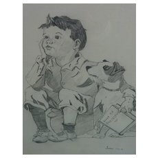 Pencil drawing of young boy and his dog signed and dated 1931