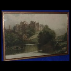Fine etching of English Ludlow Castle in a landscape by British Victorian artist David Law
