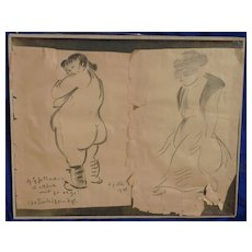 German listed art Pair of charcoal drawing by the important artist Heinrich Zille (1858- 1929)