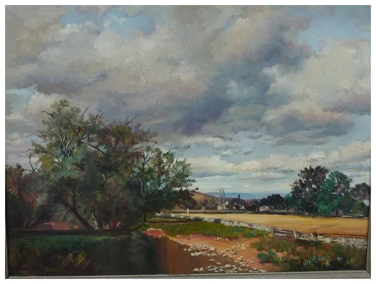 20th Century American art landscape oil painting signed BUTLER - 20th Century American Art Landscape Oil Painting Signed BUTLER