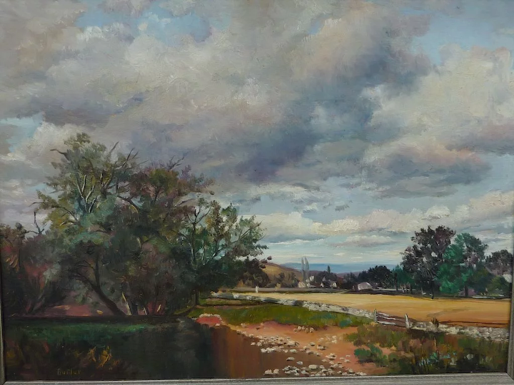 Butler 20th Century American Artist Beautiful Landscape Oil Painting Dalia S Gallery Ruby Lane