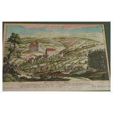 Antique 18th century hand colored engraving of Swiss landscape by Jeremias Wolff (1663-1724)