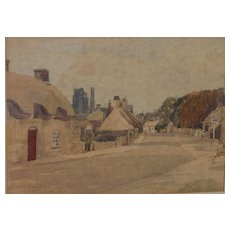 English 1956 fine watercolor painting by the well listed artist Stanley Orchart (1920-2005)