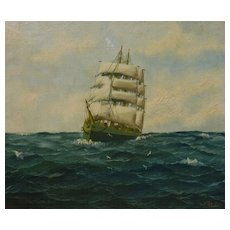Marine art clipper ship on high seas painting signed