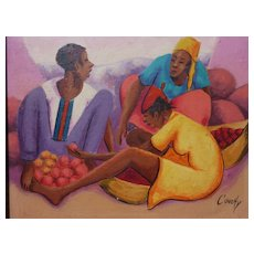 Colorful Haitian painting of a three women at a market selling oranges