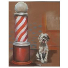 Dog art vintage humorous pastel drawing of a dog awaiting his master