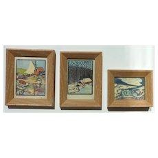 Leo Dorn (1879- 1964) three 1920's woodblock prints by American artist