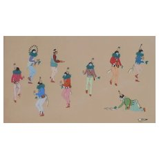 Native American art large size original drawing by Navajo artist Johnny  Secatero ( 1945-2010)