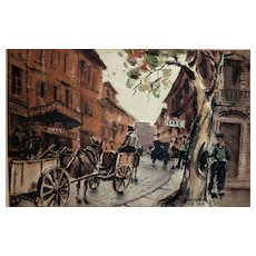Caesar Anthony  Hernandez (1909- 1996) French street scene early watercolor painting by listed California artist