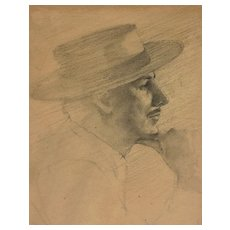 Fine pencil drawing of a man with hat dated 1964