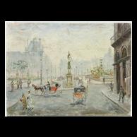 Paris street scene impressionist oil painting by Cesar A. Villacres (1880- 1940)