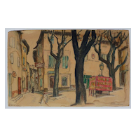 Adrian Allinson (1890 - 1959) mixed media drawing of Avignon square by well known English artist