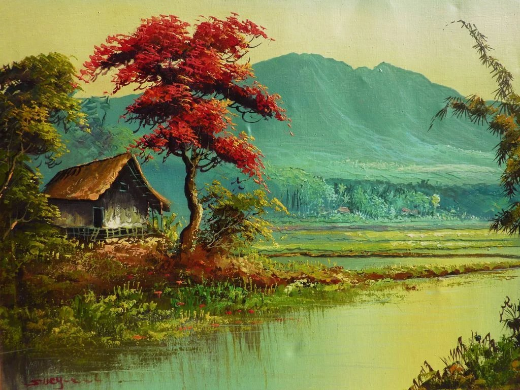 Colorful landscape oil painting of tropical Asian scene possibly ...