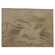 Sporting art antique pencil drawing of hunting dogs