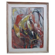 Germaine Chardon  Belgian - French artist watercolor painting of exotic birds