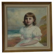 Early 20th century portrait painting of a young girl  in seascape landscape