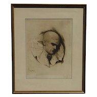 Hans Hahnel original etching portrait of clown dated 1922