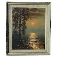 Viktor Korecki (1890 - 1980) moonlight landscape painting by listed Polish artist